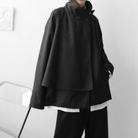 Men Japanese Streetwear Fashion Asymmetrical Stand Collar Loose Casual Vintage Coat Man Black Cloak Jacket