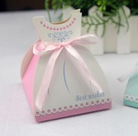 Gift Wrap 100pcs lot Creative Blue Groom Dress Shape Wedding Candy Box Beautiful White Skirt Besh Wishes Party Favor With Ribbon