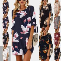 Summer street fashion mid sleeve print lace up round neck dress women 0804 0805 polyester Big size S-5XL