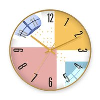 Simple Modern Style Silent Wall Hanging Clock Creative Color Matching Pattern Household Clocks Metal Frame Home Creative Decor