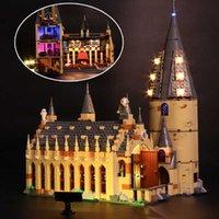 Светодиодный светильник набор для 75954 Гарри фильма Совместимый 16052 Hogwarts Большой зал здания Blocks Blicks игрушки (светодиодный свет + аккумулятор)