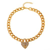 Yamog Diamond Heart Lock Pendant Necklaces Women Alloy Thick Sweater Clavicle Chain Punk Valentine's Day Gift Love Link Neck Jewelry European Accessories Gold