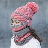 جديد أزياء الخريف الشتاء إمرأة قبعة قبعات محبوك الدافئة وشاح يندبروف متعددة الوظائف قبعة وشاح مجموعة الملابس الملحقات البدلة