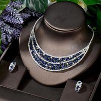 Earrings & Necklace HIBRIDE Luxury 2PCS Blue Geometric Dubai Bridal Jewelry Sets Stud Earring Charm Statement CZ Wholesale N-879