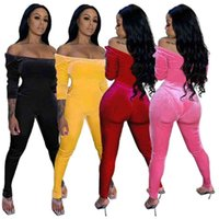 New Style Women Velvet Jumpsuits Designer Sexy One Shoulder Solid Color Rompers Fashion Skinny Bodysuit Pullover Comfortable Clubwear