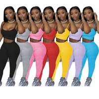 Women jogging suits summer clothing tracksuits outfits sleeveless tank tops+leggings pants two pcs set plus size S-2XL casual black sportswear sweatsuits 4882