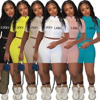 Estate Donne Tracksuits 2021 Nuovo Designer High Collare Filo di ricamo Lettera Zipper Manica Corta Sport Due pezzi Set Nightclub 829