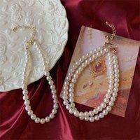 프랑스 레트로 진주 목걸이 대형 진주 럭셔리 팰리스 스타일 더블 디자인 목걸이
