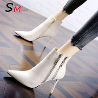 Boots 2021 Winter High Heels Fashion Gladiator Women Shoes PU Leather Zipper Sexy Designer Goth Dress Party Pumps Lady