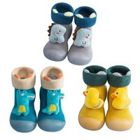 First Walkers Kids Toddler Shoes Baby Boys Girls Cartoon Warm Knit Soft Sole Rubber Socks Slipper Stocking Anti-slip Floor