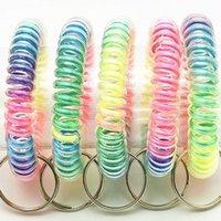 Donne elastiche Hairbands Spring WireeyCain Capelli Capelli Cerchio Cerchio Telefono Telefonata Fascia Rainbow Portachiavi Anello Capezzamento Accessori G38edzy
