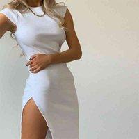 Dress Waatfaak Short Vintage White Casual Split Office Summer Black Elegant Ladies Cotton Women Club