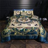 Bedding Sets Bohemia Boho Style Luxury Egyptian Cotton Silky Set Queen King Size 6Pieces Quilt Duvet Cover Bedsheet Pillowcase