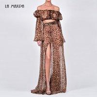 Два куска платья летние женские моды леопардовые печатные кружева 2-х частей двух частей сексуальные длинные рукава топ + сплит длинная юбка вечеринка повседневная верхняя одежда