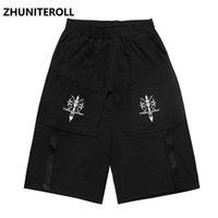 Cinta corta pantalones cortos de la prenda de trabajo pantalones cortos para hombres Hip Hop Streetwear Harajuku Baggy Joggers Shorts Summer Men Track Black Short