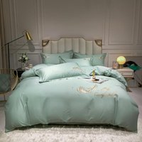 Bedding Sets 80S Long-staple Cotton Set Egyptian Solid Color Embroidery Bed Quilt Duvet Cover Sheet Spread Flat Luxury Gift