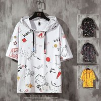 Mens Tops Tees Summer Print Short Sleeve With Hooded T Shirt...