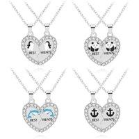 Pingente colares na moda 2 pcs / set amigos golfinhos pinguim panda inlay pedra de cristal pedra colar de coração para boas namoradas presente