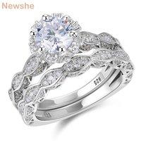 Ela 2.6ct branco rodada corta cz vintage anel de casamento conjunto genuíno 925 esterlina anéis de noivado de prata para mulheres qr4891 banda