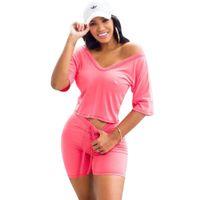 Летний костюм Clubwear Спортивный трексуит Короткие 8 Новые Мода Одежда Женщины 2 Шт. DHL Outfits Sexy Womens Support 2021 Цвет Бесплатный SE JHKTJ