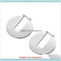 & Hie Jewelrybohemia Round Shape Rectangular Notch Hoop Earrings Punk Style Rose Gold Stainless Steel Anniversary Jewelry Je180711 Drop Deli