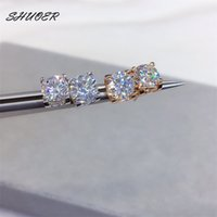 Women Classic 925 Silver 1 ct Pass Diamond Tester Color Moissanite Cow Head Stud Rose Gold Brilliant Cut Stone Earrings