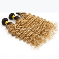 1B 27 Honey Blonde Dark Root Human Hair Grade 8A Deep Wave Brazilian Ombre Brown Blonde Hair Weaving 3pcs lot