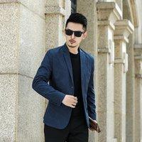 Men's Suits & Blazers Blue Mens Blazer Jacket Men Fashion Suit Autumn Thin Anti-wrinkle Korean Business Casual Breathable Clothing