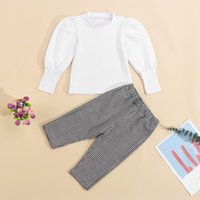 Clothing Sets Pudcoco 2 Pcs Infant Casual Outfits Girls Solid Color Set Puff Sleeve Round Neck Pullover+Houndstooth Print Pants Suit
