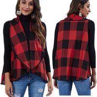 Autumn Red Check Print Irregular Cardigan Women Vest Fashion Big Lapel Plaid Tank Coat Ladies Plus Size Clothing Women's Vests