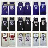 Genähte Mesh Männer Chris 4 Webber Trikots Vintage weiße lila schwarze Farbe Peja 16 Stojakovic Jason 55 Williams Basketball College Hemden