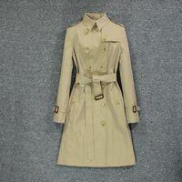 British style 2020 popular new women's windbreaker, black slim coat over knee 959h#