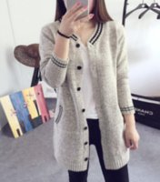 Women Sweater solid color o-neck open stitch Button Striped Knitting cardigan Long Sleeve Cardigans Female Sweaters ZHL6857