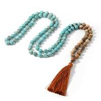 Pendant Necklaces SHINUS BOHO 108 Beads Long Tassel Sweater Chain Necklace Style Handmade Knotted Ethnic Yoga Mala 2021 Jewelry