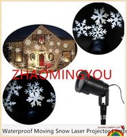 Waterproof Moving Snow Laser Projector Lamps Snowflake LED Stage Light For Christmas Year Party Garden Lamp Outdo Downlights