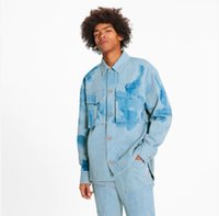 Striped Workwear Denim Shirt Mens Designer Shirts Brand Clothing Men Long Sleeve Flower Print Dress Shirt Hip Hop High Quality Cotton Shirts