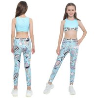 Kids Girls Child Ballet Dancewear Workout Gymnastics Outfits Sport Bra Top Tank Tops With Pants Leggings Set Dance Class Clothing Sets
