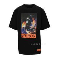 Preston HP Renkli Heron Vinç Akıllı Fotoğraf Baskı Erkek Ve Kadın Yuvarlak Boyun Kısa Kollu Rahat T-shirt