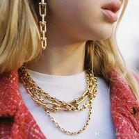2021 Готическое ожерелье Choker Vintage Metal Link Chain Chokers Punk Jewelry Femme Gold Goth Bijoux