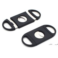 Cigar Cutter 90mm PocketSize Plastic Stainless Steel Double Blades Scissors Dry Herb Tobacco Accessories Tool Black Color FWF10501