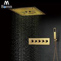 Sistemas de ducha de baño M Boenn Luxury Villa Sistema de lluvia de oro 16 pulgadas Presión de techo Presión LED cabezal de ducha Panel de cascada Grifo