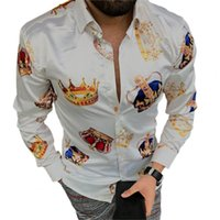 Men's Polos Luxury Crown Printed Shirts Men 2021 Spring Long Sleeve Slim Casual Dress Shirt Streetwear Social Party Clothes Camisa Masculina