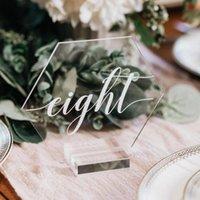 Cancella tavola di tavola esagono acrilico Numeri di nozze segni calligrafia Plexiglass Segno con Stands Decor Decor Decorazioni
