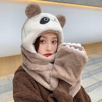 Berets Ly Girls Cute Panda Winter Hats 3 In 1 Warm Soft Plush Hoodie Cap Gloves Mitten Scarf Set Cold Weather Gifts