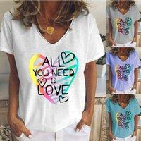 Mulheres verão casual tops coração impressão senhoras manga curta t tees v pescoço blusa tops t-shirts