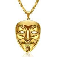 """Pendentif Colliers Hip Hop Rock Couleur en Inoxydable en acier inoxydable V pour Vendetta Masque Clown Hommes Collier Jewerly avec chaîne de 24 """""""