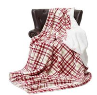 ファッショナブルな快適な柔らかいフランネル赤と白の格子縞の毛布の暖かい二重ぬいぐるみショール子供大人のソファーの寝具ホームテキスタイル