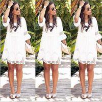 Bonjean Bohemian Plaj Elbise Dantel Patchwork Giyim Gevşek Mini Elbise 2020 Artı Boyutu Yaz Vestidos BJ2866 Q2ID #
