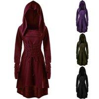 Lässige Kleider Vintage Renaissance Kleid Mittelalterliche Cosplay Kostüme für Frauen Halloween Hooded Festival Party Kleidung Plus Größe Vestidos 5XL