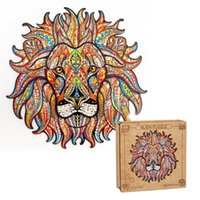 irregular Wooden Puzzl Educational Toys Lion Shap Kids Custom Jigsaw Dinosaur 3d Puzzle For Adults dropshipping
